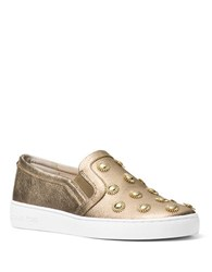 Michael Michael Kors Leo Tumbled Leather Slip On Sneakers Pale Gold