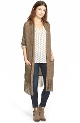 Hinge Fringe Cardigan Heather Brown Bark