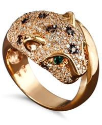 Effy Collection Effy Signature Diamond White And Champagne Diamond 1 1 3 Ct. T.W. And Emerald Accent Panther Ring In 14K Rose Gold