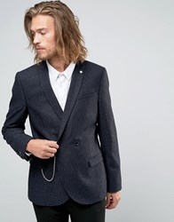 Noose And Monkey Super Skinny Db Blazer With Chain In Fleck Midnight Navy