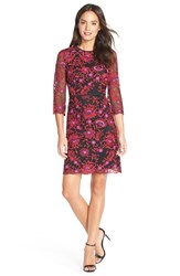 Petite Women's Adrianna Papell Floral Embroidered Mesh Sheath Dress