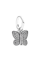 Pandora Design Pave Crystal Butterfly Charm Silver Clear