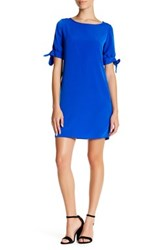 Donna Ricco Bow Sleeve Shift Dress Petite Blue