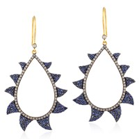 Meghna Jewels Neg Space Blue Sapphire And Diamonds Claw Earrings
