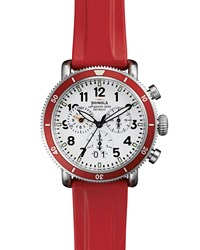 42Mm Runwell Sport Chronograph Watch With Rubber Strap Red Shinola