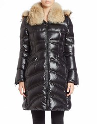 Dawn Levy Convertible Coyote Fur Trimmed Puffer Coat Black