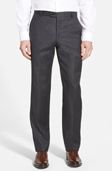 Men's Big And Tall Hickey Freeman 'B Series' Flat Front Wool Trousers Charcoal