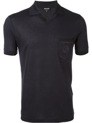 Giorgio Armani Chest Pocket Polo Shirt Blue