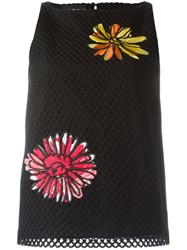 Boutique Moschino Flower Patch Sleeveless Top Black