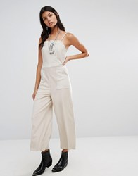 Mango Cropped Leather Look Jumpsuit Light Beige White
