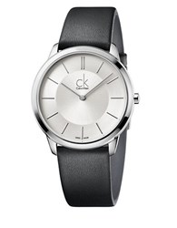 Calvin Klein Stainless Steel And Leather Watch K3m211c6 Silver
