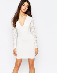 Club L Essentials Plunge Body Conscious Dress With Lace Back And Sleeves White