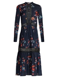 Self Portrait Plum Blossom Print Crepe De Chine Dress Navy Multi