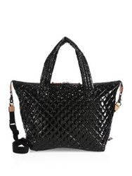 M Z Wallace Large Sutton Quilted Patent Leather Duffle Bag Black