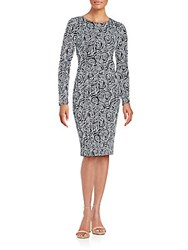 Betsey Johnson Fitted Floral Printed Dress Black