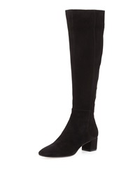 Gianvito Rossi Low Heel Suede Knee Boot Black