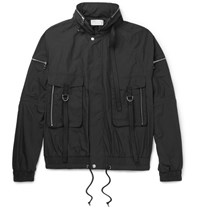 John Elliott Waxed Cotton Blend Bomber Jacket Charcoal