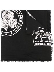 Diesel Patch Print Scarf Black