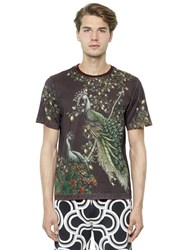Dolce And Gabbana Peacock Printed Cotton Jersey T Shirt