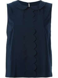 Red Valentino Peter Pan Collar Sleeveless Blouse Blue
