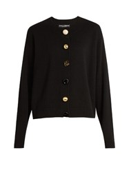 Dolce And Gabbana Contrasting Button Cashmere Cardigan Black