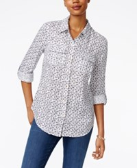 Charter Club Linen Anchor Print Shirt Only At Macy's Bright White Combo