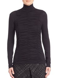 Akris Punto Long Sleeve Jersey Ruched Front Turtleneck Top Black
