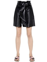 Msgm Knot Detail Faux Nappa Leather Skirt