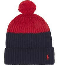 Polo Ralph Lauren Colour Block Knitted Bobble Hat Navy Red