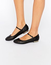 Truffle Collection Lulu Punched Mary Jane Flat Shoes Black Pu