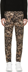 Alexander Mcqueen Black And Khaki Marbled Trousers