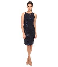 Adrianna Papell Sequin Embroidered Floral Sheath Navy Women's Dress
