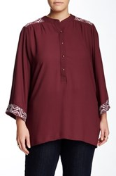 Halo Shoulder Detail Crepe Blouse Plus Size Red