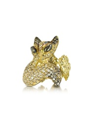 Bernard Delettrez Gold And Cognac Diamonds Fox Ring