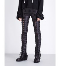 Unravel Skinny Lace Up Leather Trousers Black