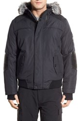 Men's Point Zero Hooded Bomber Jacket With Faux Fur Trim Charcoal