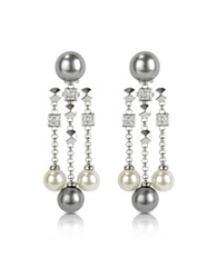 A Z Collection Glass Pearl Drops Clip On Earrings Silver