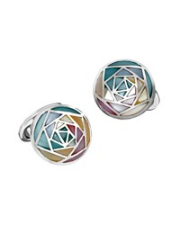 Jan Leslie Round Inlaid Rose Cuff Links Multi
