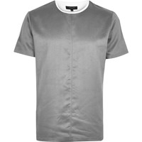 River Island Mens Grey Faux Suede T Shirt