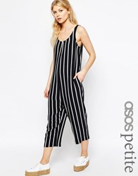 Asos Petite Minimal Jumpsuit In Stripe Black And White Multi