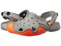 Crocs Swiftwater Clog Smoke Tangerine Men's Shoes Gray