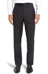 Santorelli Men's Big And Tall Flat Front Solid Wool Trousers Black