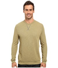 True Grit Double Side Slub And Knit Crew Neck Sweatshirt W Stitch Details Vintage Sage Men's Clothing Olive