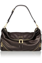 Miu Miu Biker Oversized Leather Shoulder Bag Black