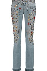 Dolce And Gabbana Embellished Mid Rise Skinny Jeans Blue