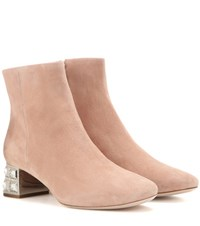 Miu Miu Embellished Suede Ankle Boots Neutrals
