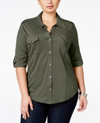 Styleandco. Style Co. Plus Size Three Quarter Sleeve Utility Shirt Olive Sprig