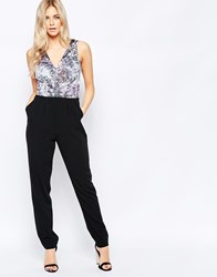 Girls On Film Jumpsuit With Printed Top Black