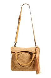 Elle And Jae Gypset 'Ibiza' Perforated Vegan Suede Tote Brown Chamois