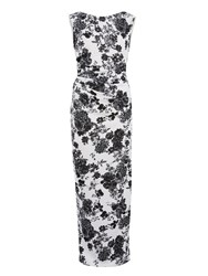 Gina Bacconi Floral Pique Knit Dress With Boat Neck White